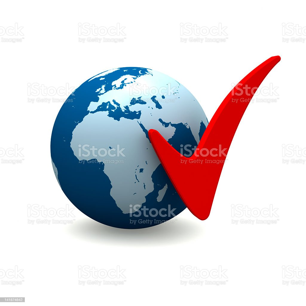 Africa and Europe with Check Marks stock photo
