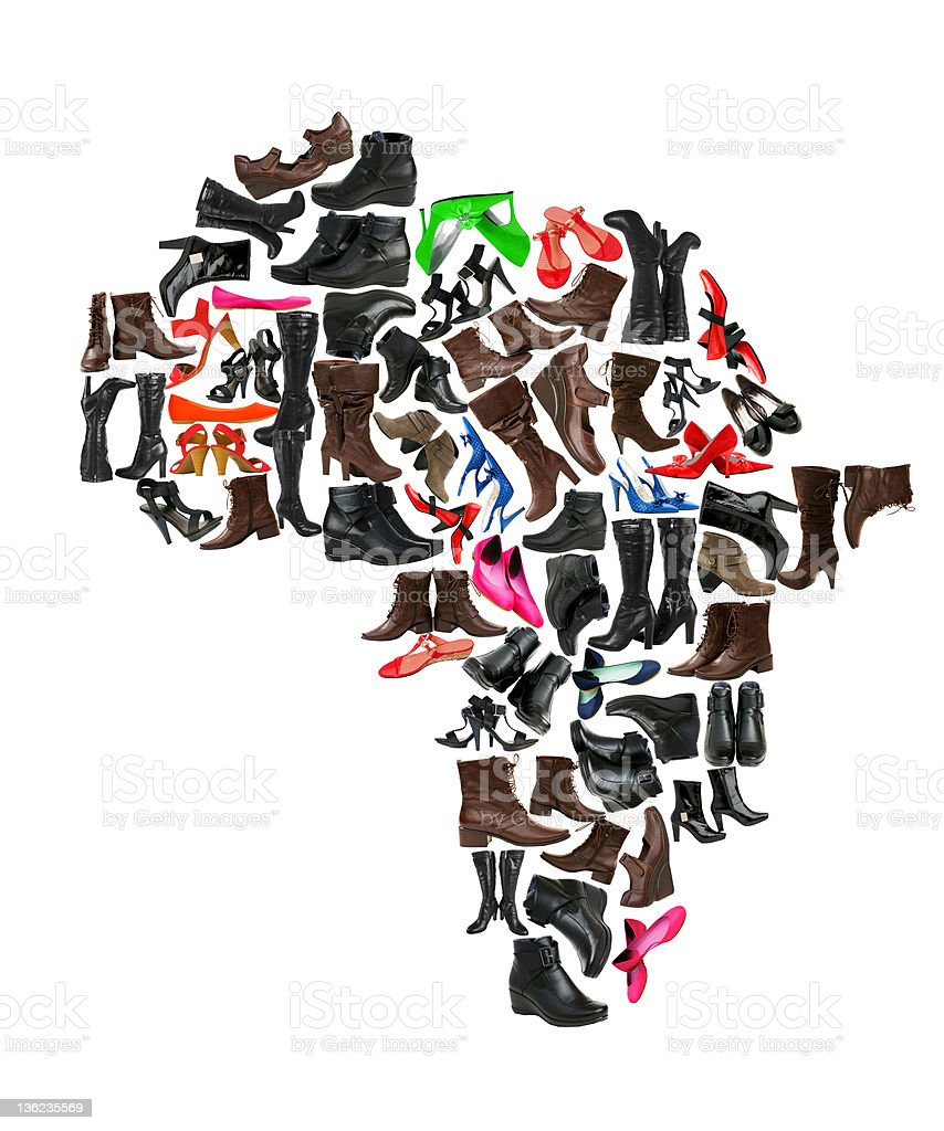 Africa continent made of woman shoes stock photo