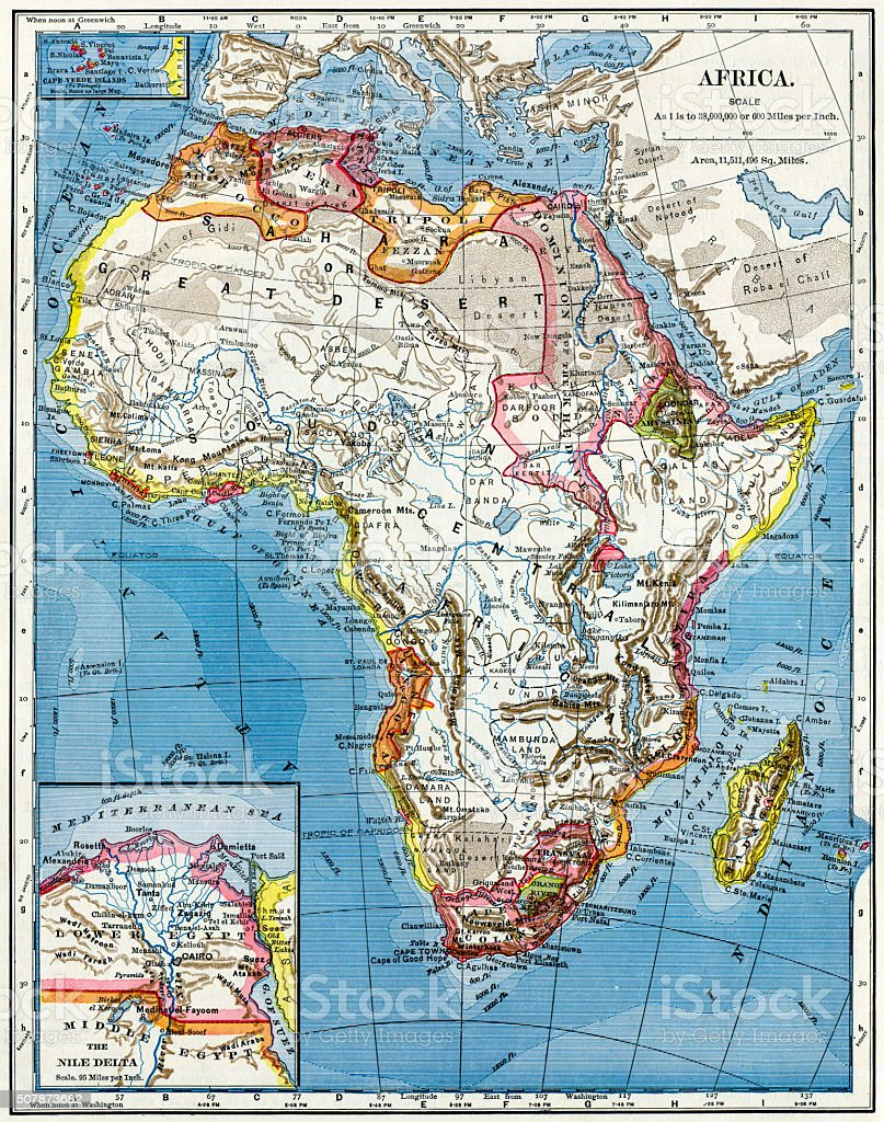 Africa Map 1883 stock photo