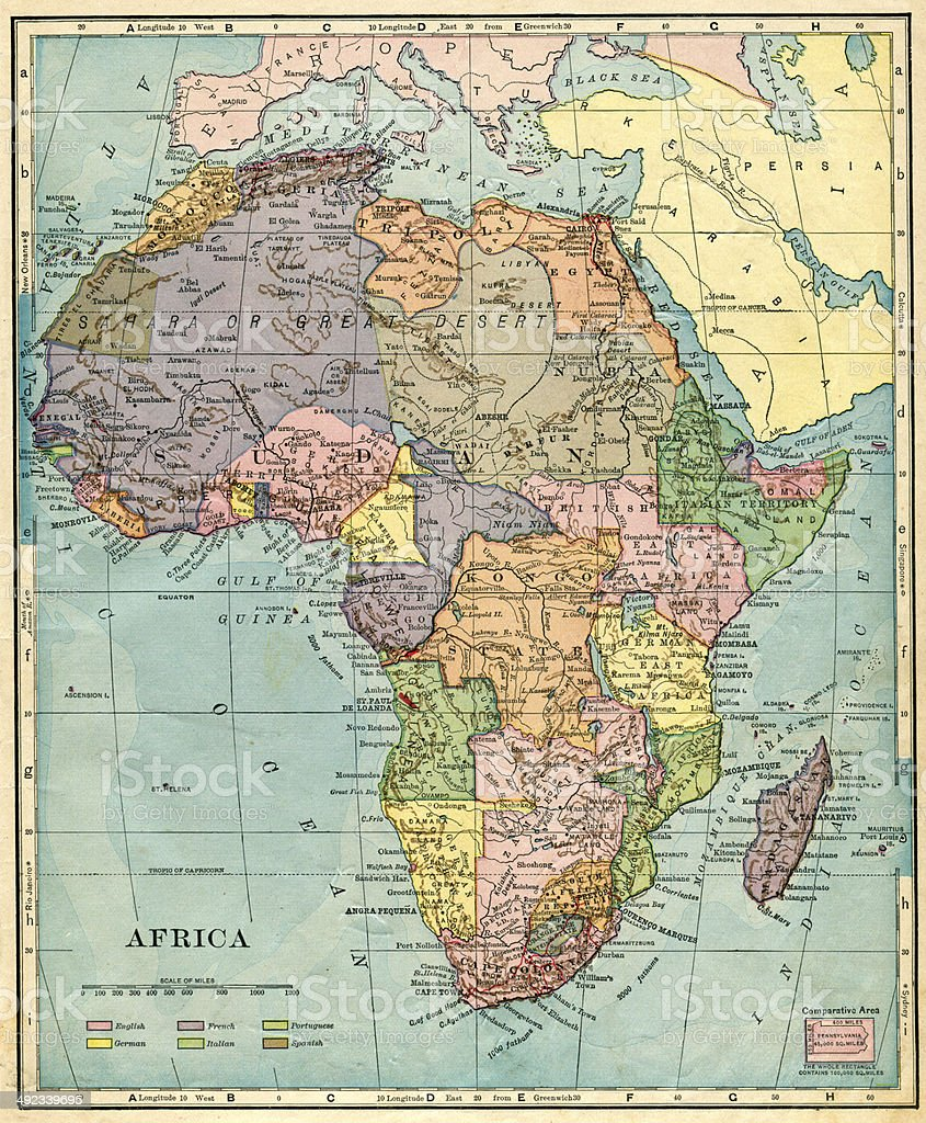 Africa Map 1896 stock photo