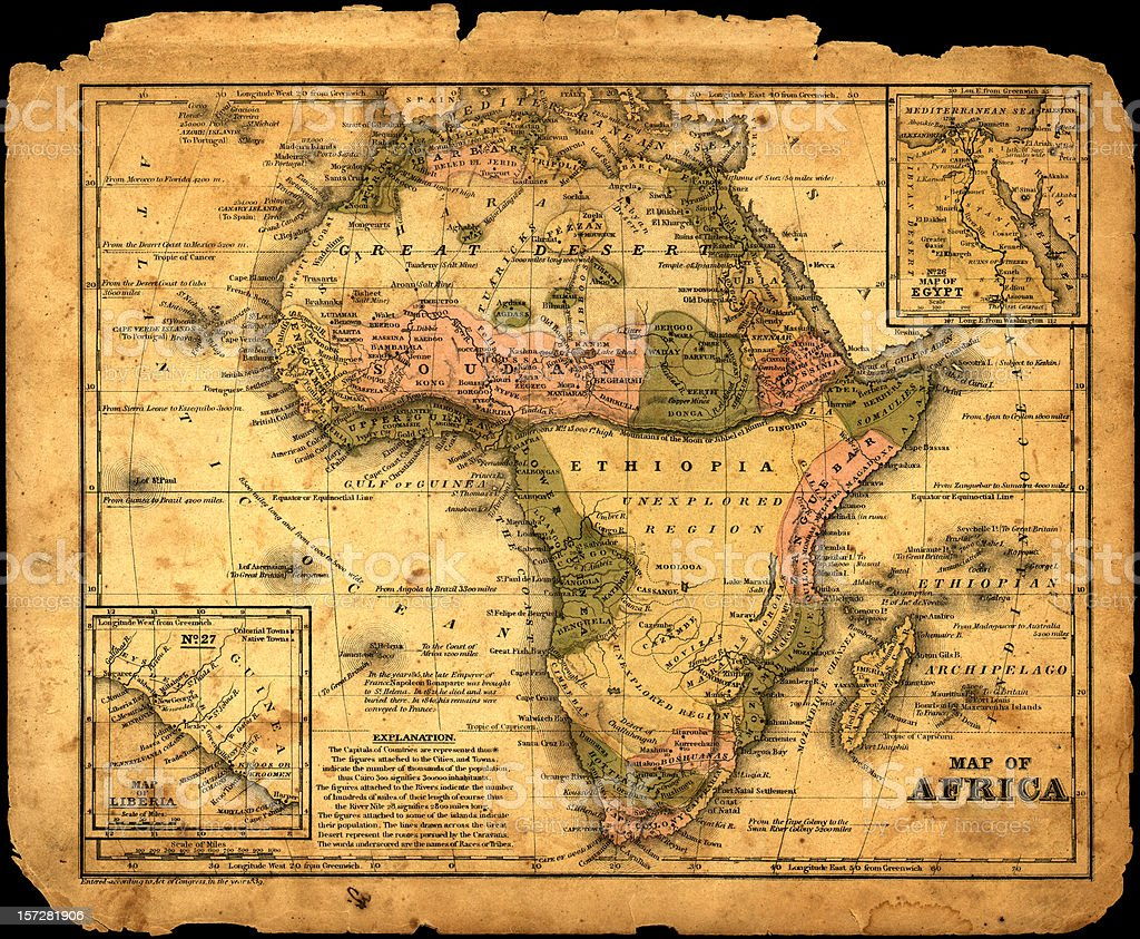 Africa map dated 1839 royalty-free stock photo