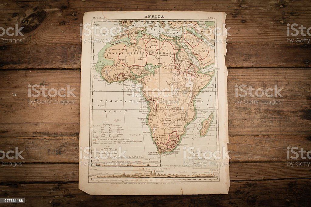 Africa Map Illustration, Antique 1871 Book Page stock photo