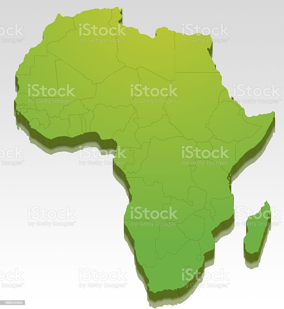Africa Map in 3D stock photo
