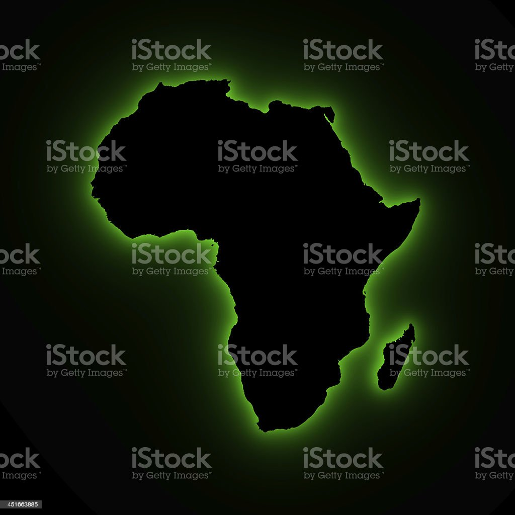Africa map in green light stock photo