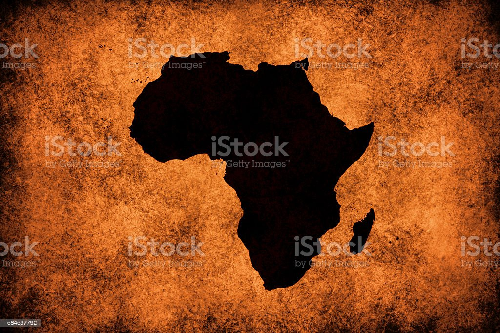Africa map on grungy paper stock photo