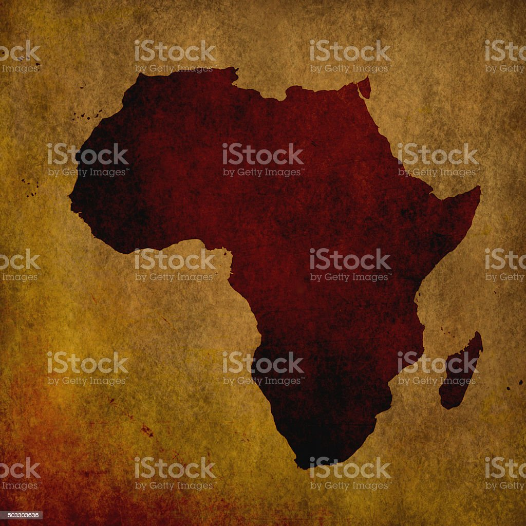 Africa map on old paper grungy background vector art illustration