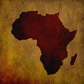 Africa map on old paper grungy background
