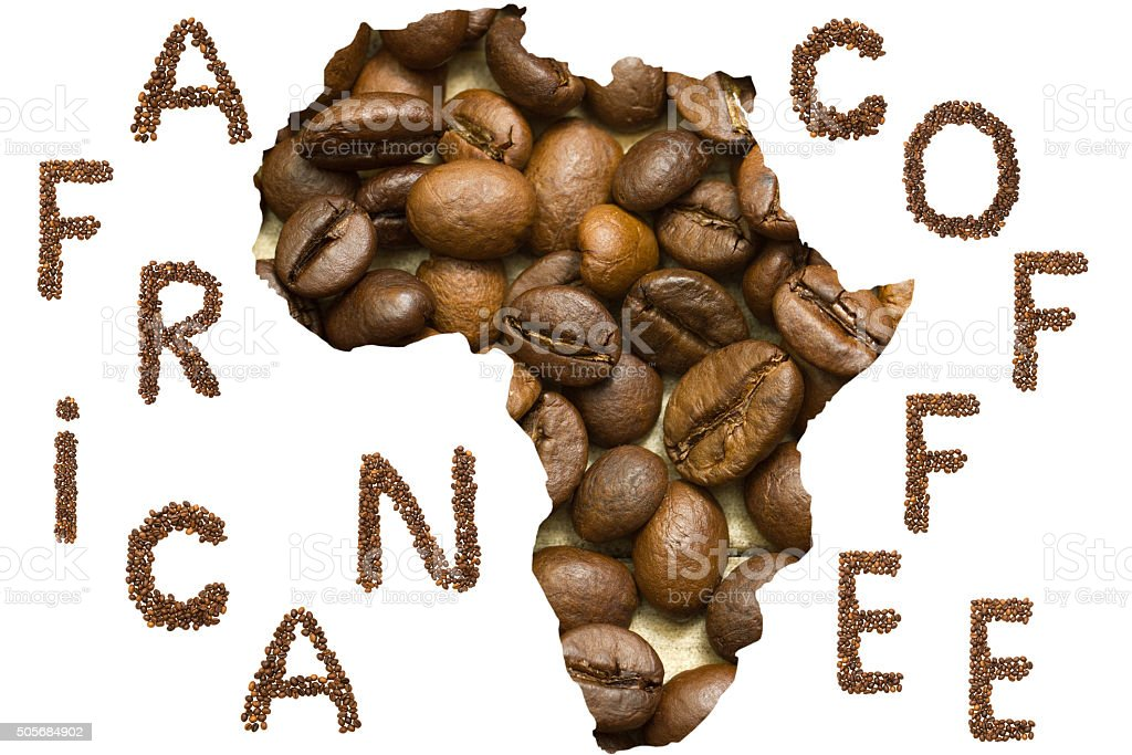 Africa map shape made of coffee beans background stock photo