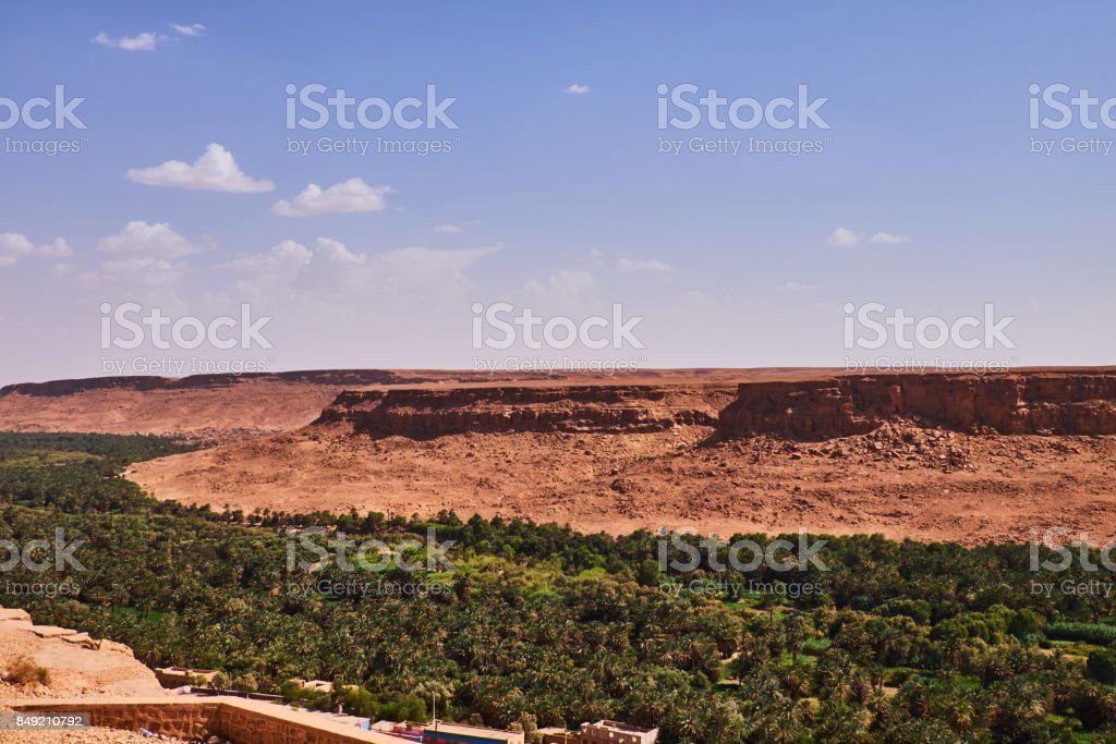 Africa, Morocco Ziz River Valley huge palm grove stock photo