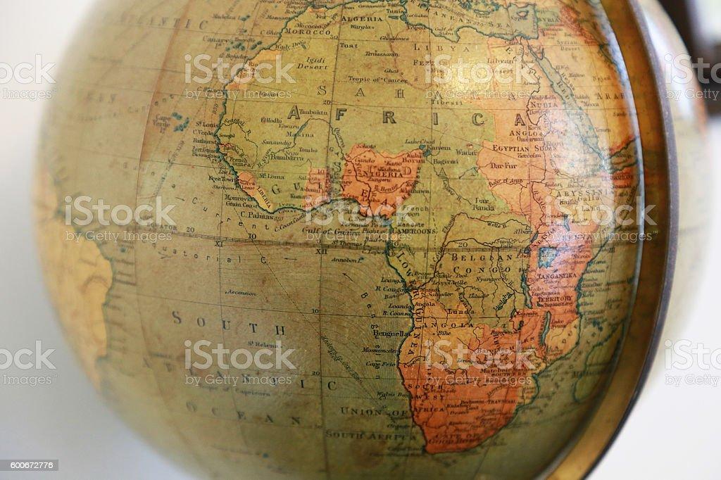 Africa of the old terrestrial globe foto de stock libre de derechos