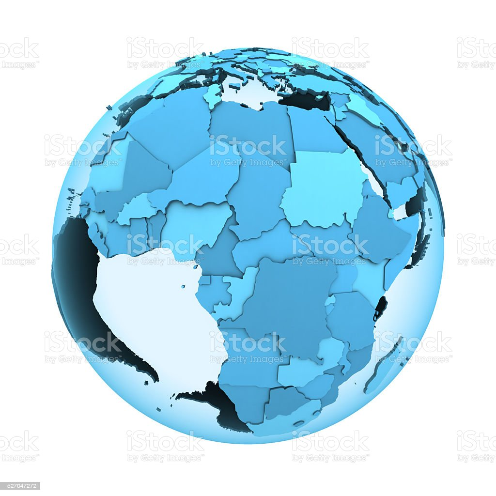 Africa on translucent Earth stock photo