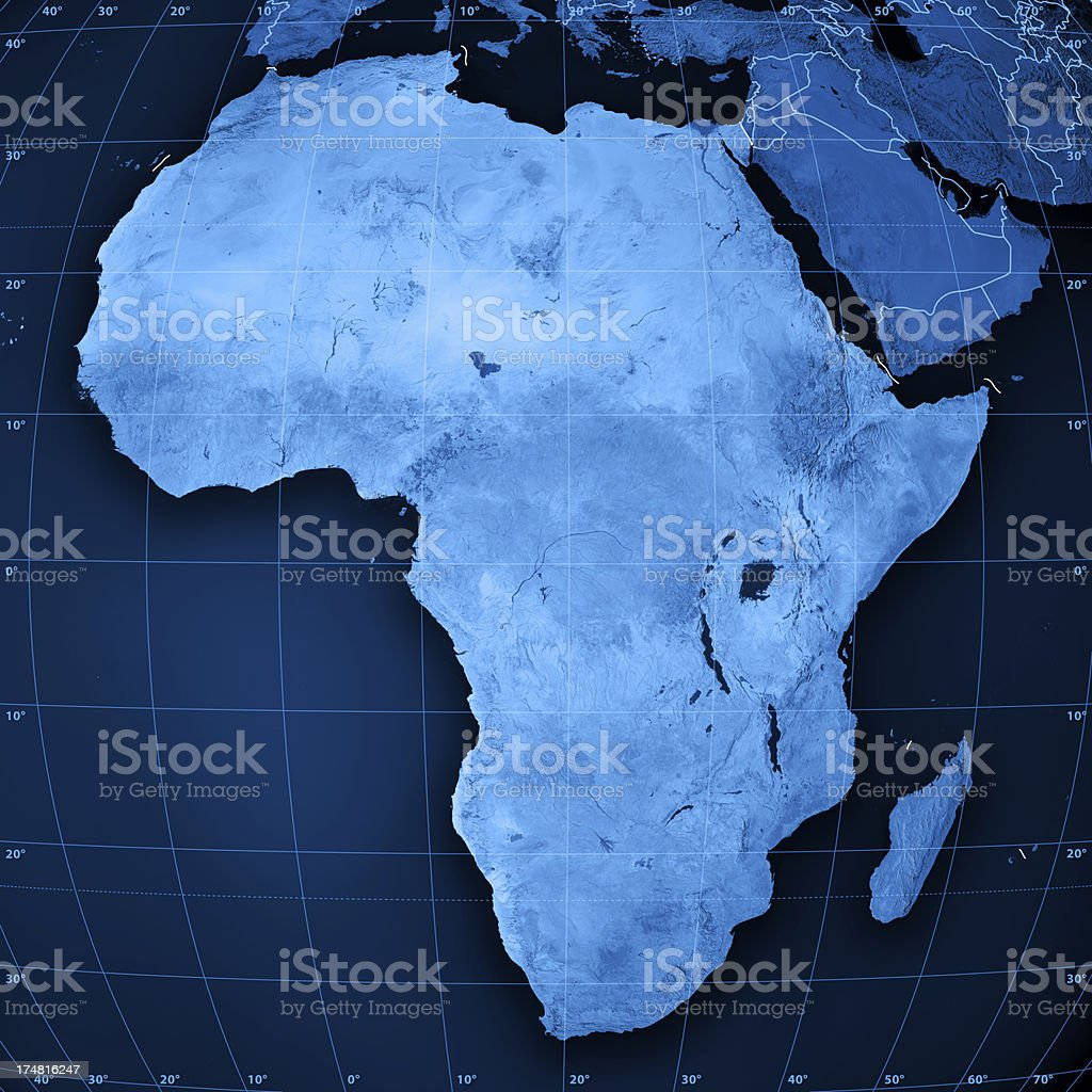 Africa Topographic Map stock photo