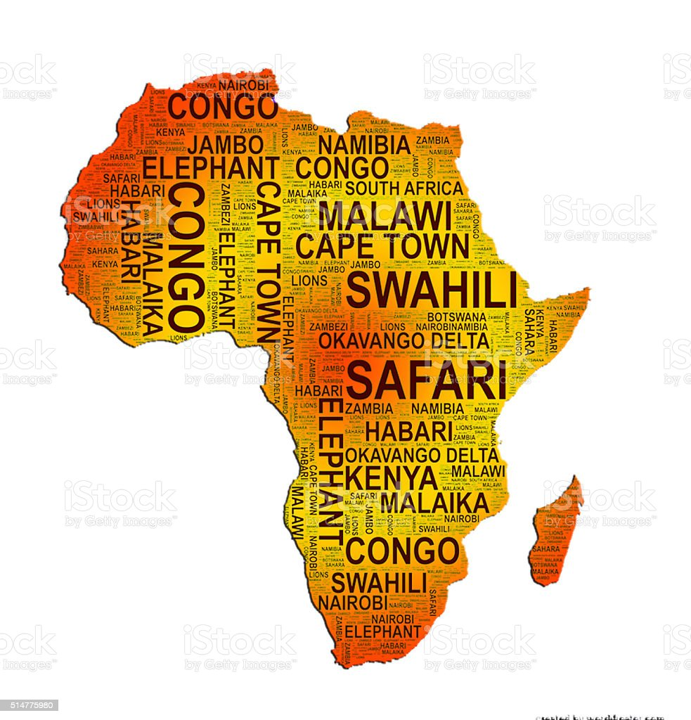 Africa word art map stock photo