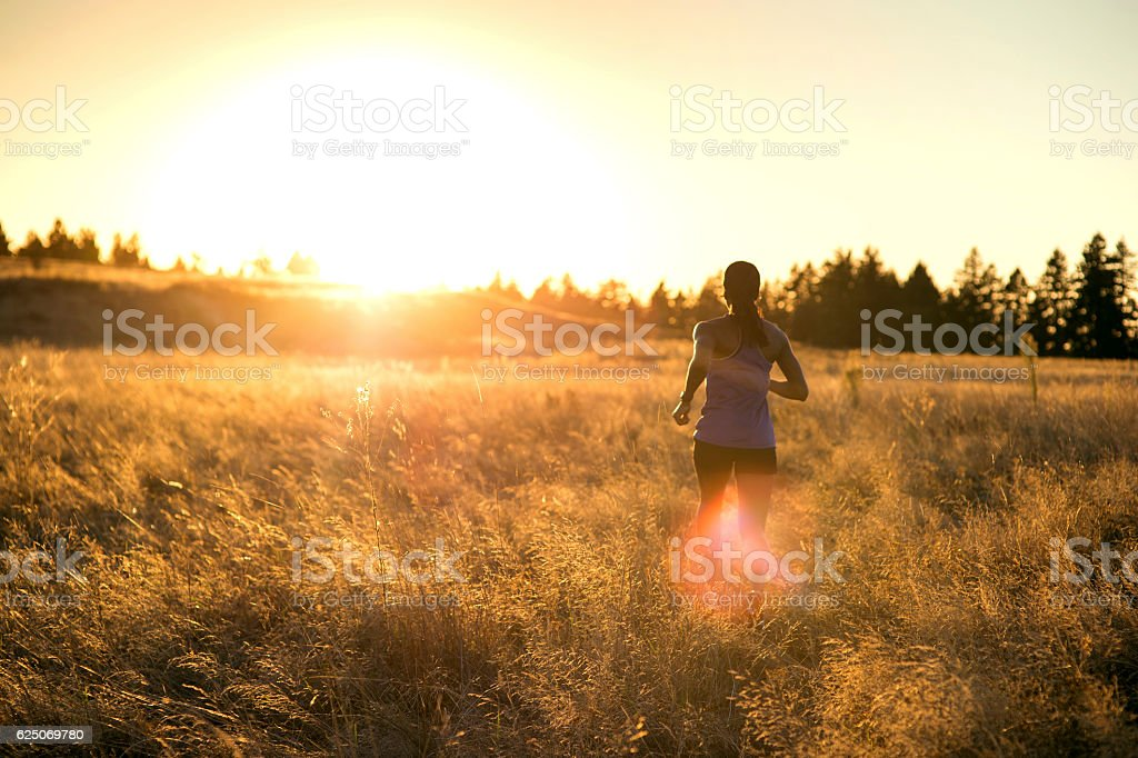 African American adult female athlete trail running through tall grass stock photo