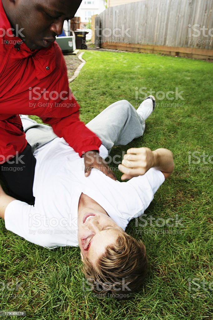 African American and Caucasian Male Fighting royalty-free stock photo