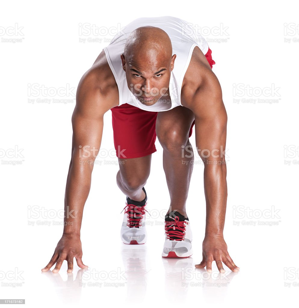 African American Athlete in  Runner's Starting Stance stock photo