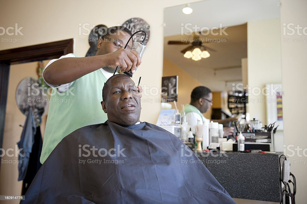 African American Barber Shop Shave royalty-free stock photo