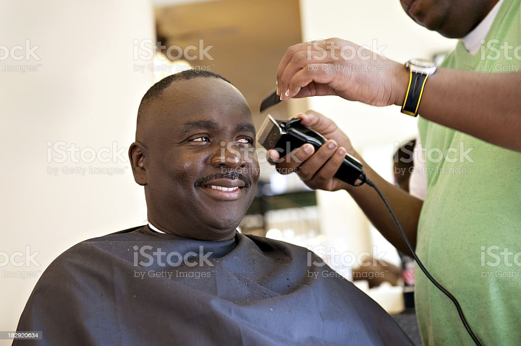 African American Barber Shop Smile royalty-free stock photo