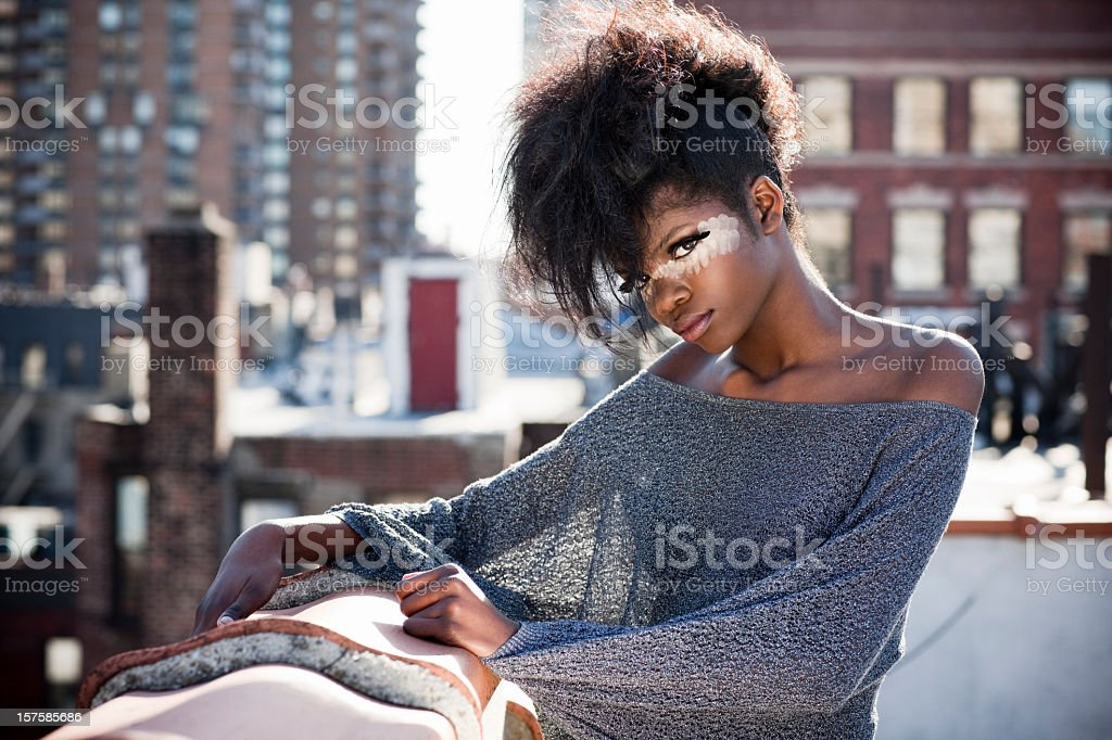 African American Beautiful Fashion Model in Makeup on NYC Rooftop royalty-free stock photo