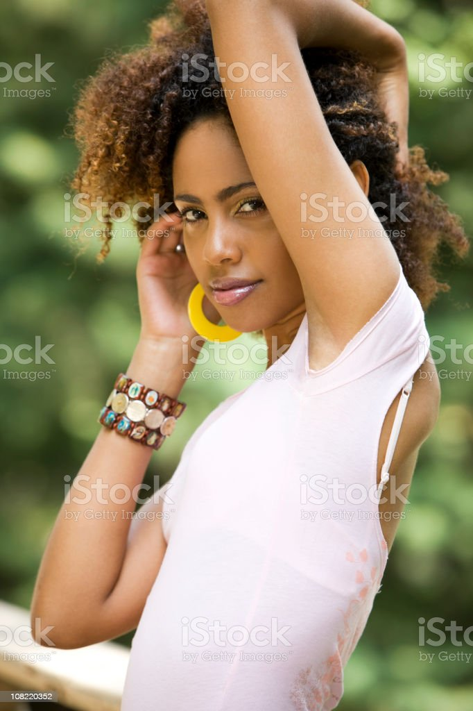 African American Beautiful Young Woman Portrait Outdoors, Fashion Model stock photo
