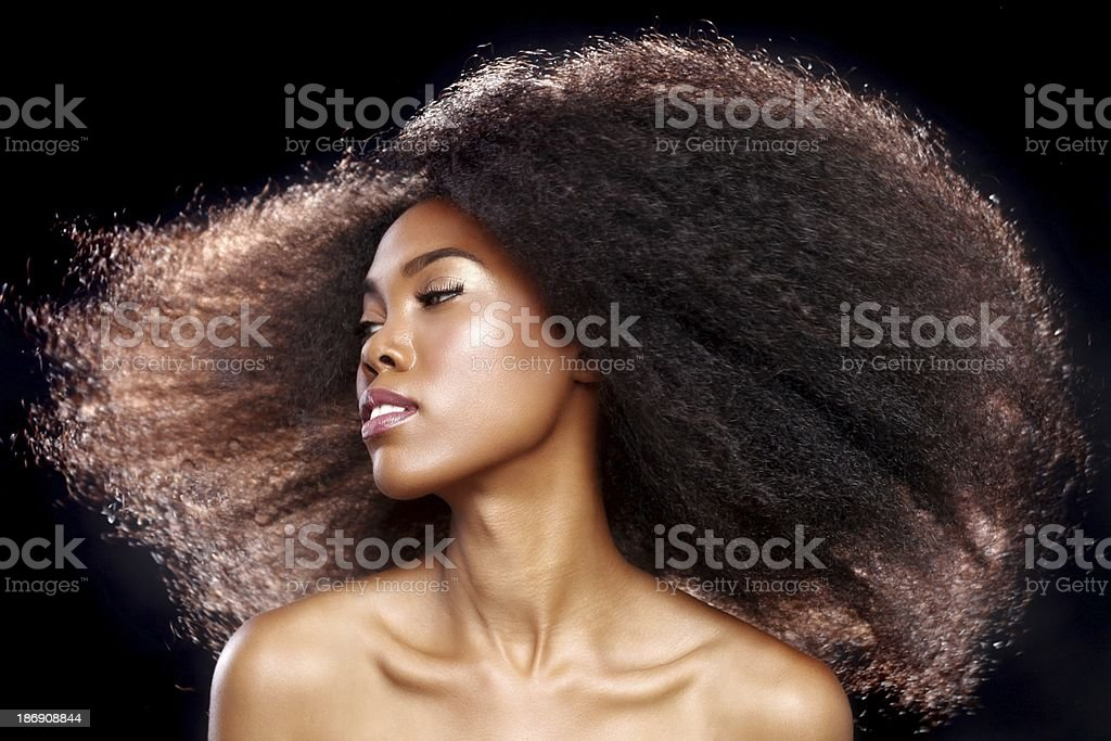 African American Black Woman With Big Hair stock photo