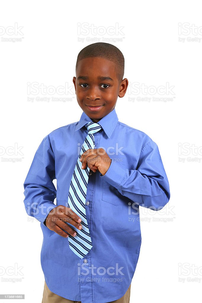 African American Boy Adjusting Necktie royalty-free stock photo