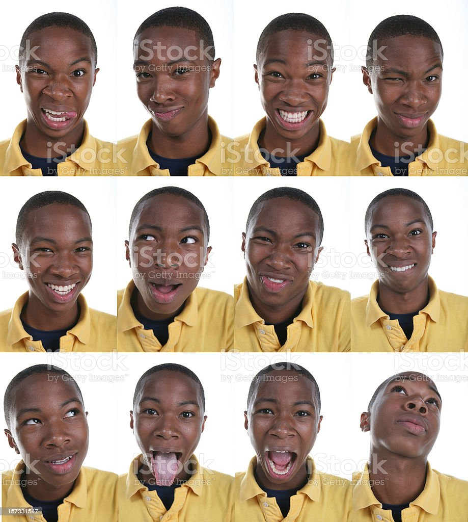 African American Boy With Various Facial Expressions royalty-free stock photo