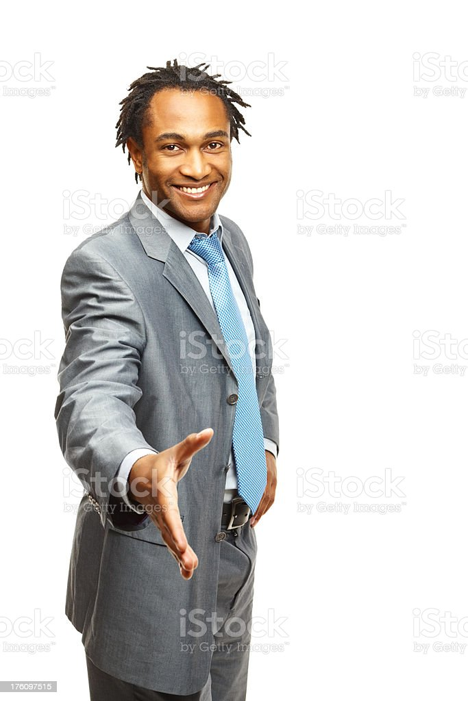 African American business man gesturing a handshake royalty-free stock photo