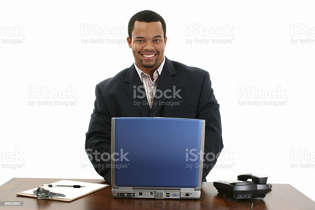 African American Business Man with Laptop stock photo