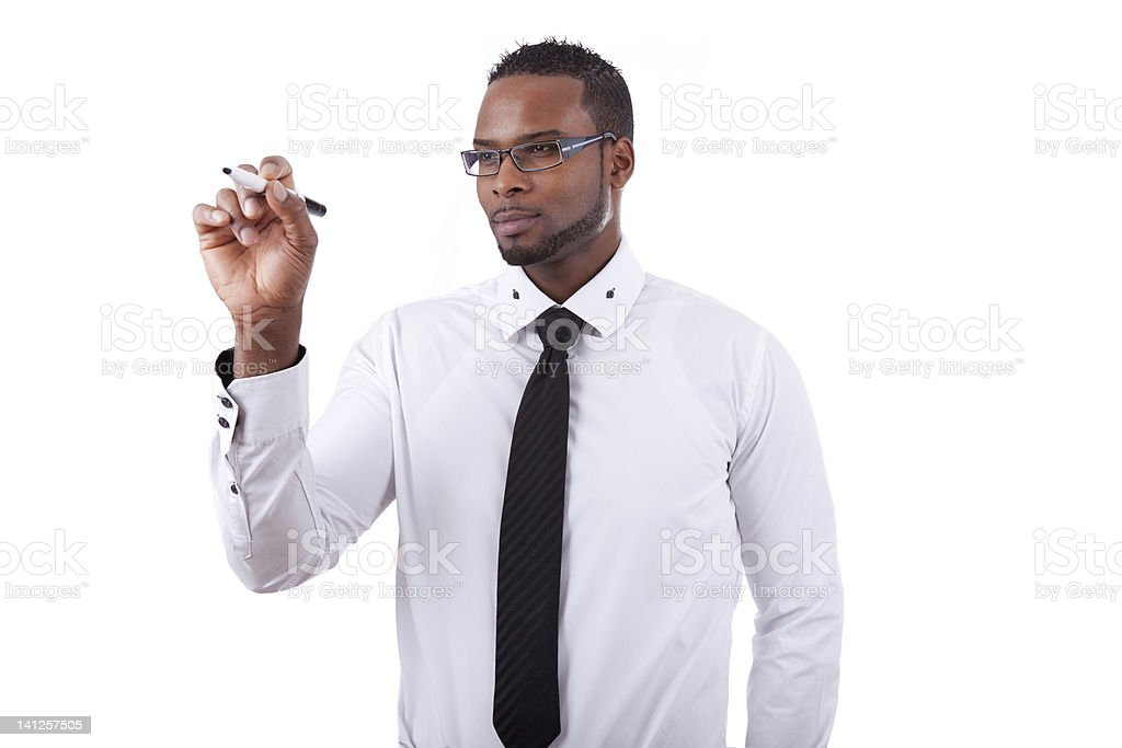 African american business man  writing something on glass board stock photo