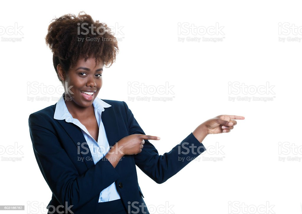 African american business woman pointing sideways stock photo