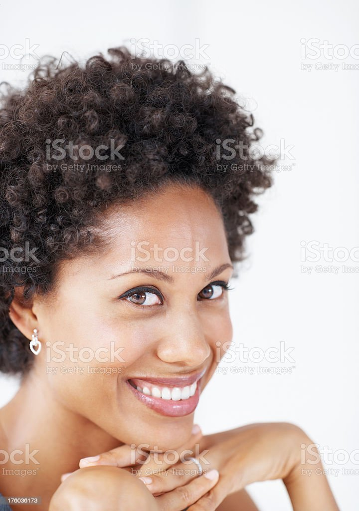 African American business woman smiling stock photo