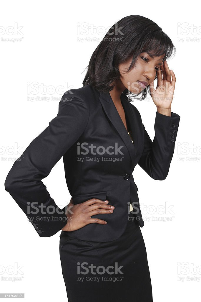 African American Business Woman Thinking royalty-free stock photo