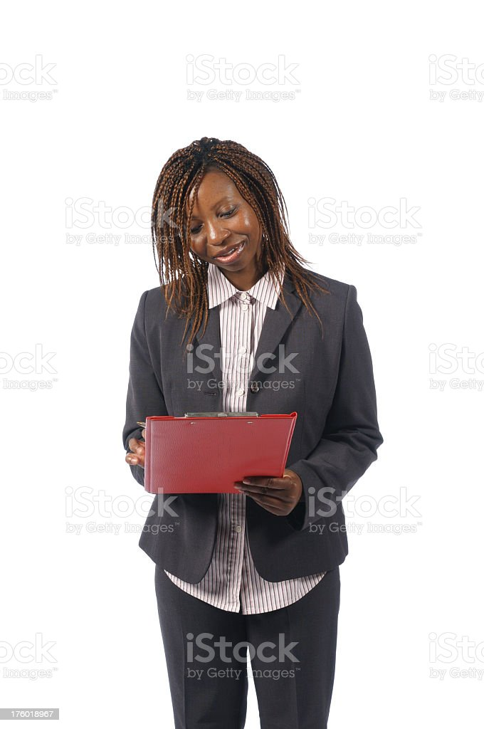 African American Business Woman with Clipboard stock photo