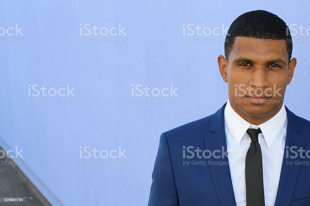 African American businessman in a blue suit stock photo