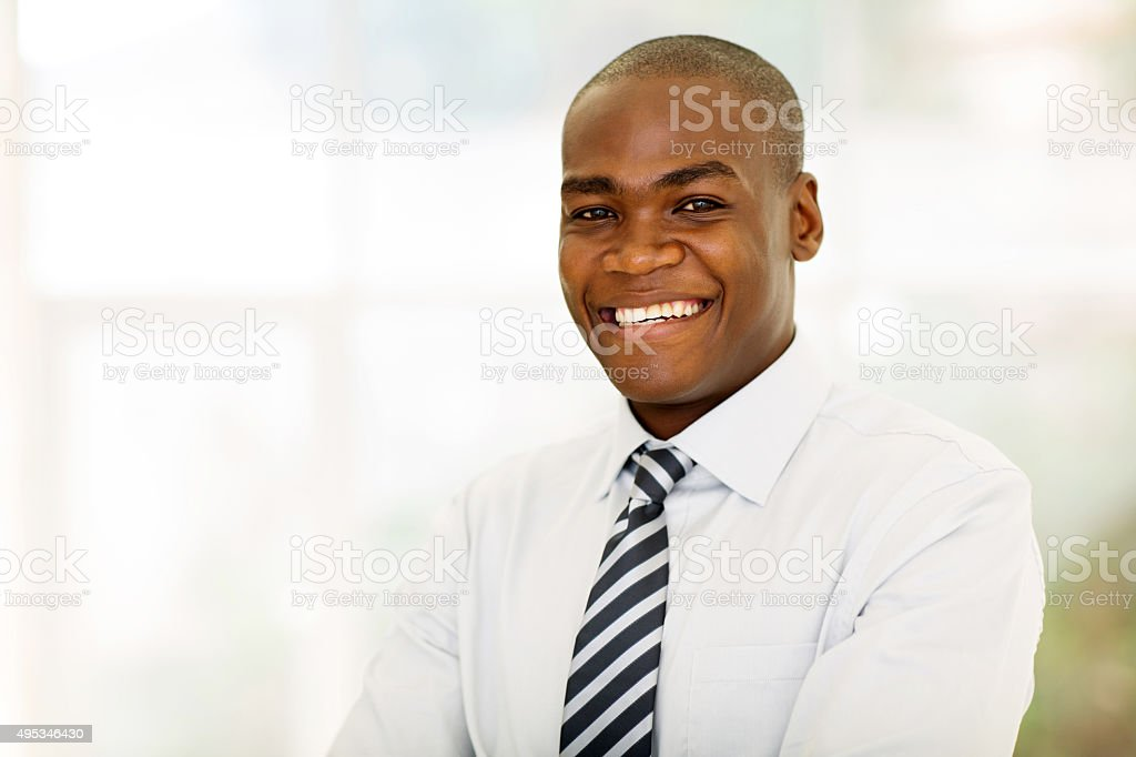 african american businessman looking at the camera stock photo