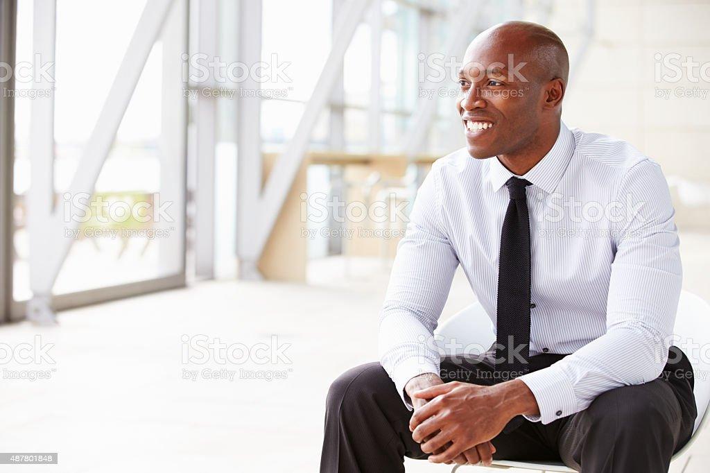 African American businessman looking away, horizontal stock photo