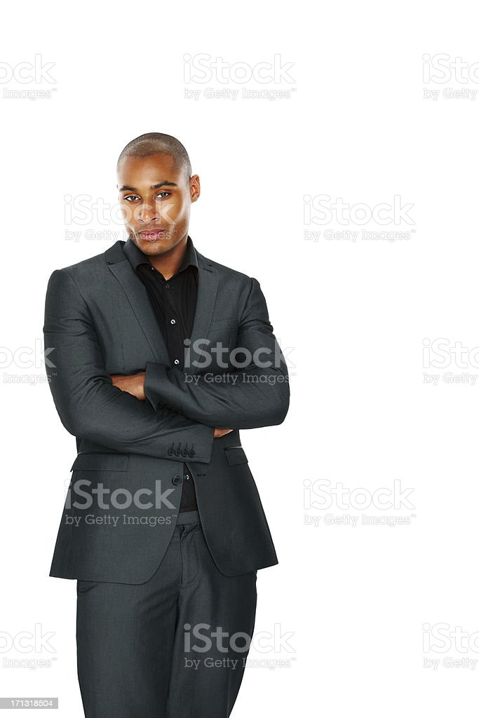 African American businessman on white stock photo