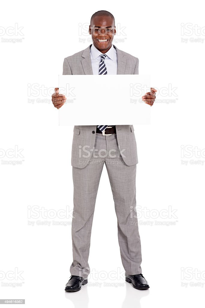 african american businessman presenting white board stock photo