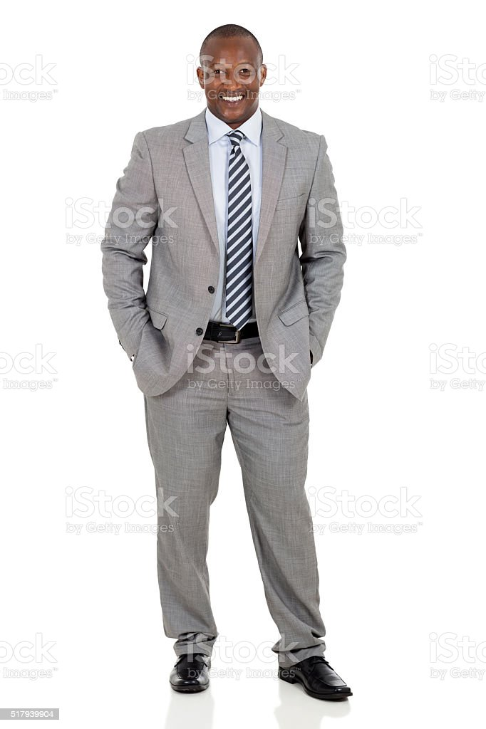 african american businessman standing stock photo