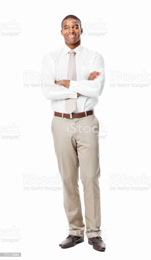 African American Businessman With Arms Crossed - Isolated royalty-free stock photo
