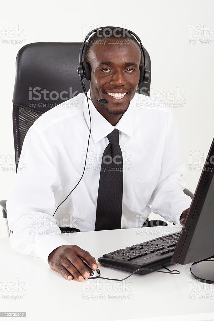 African American businessman with headset royalty-free stock photo