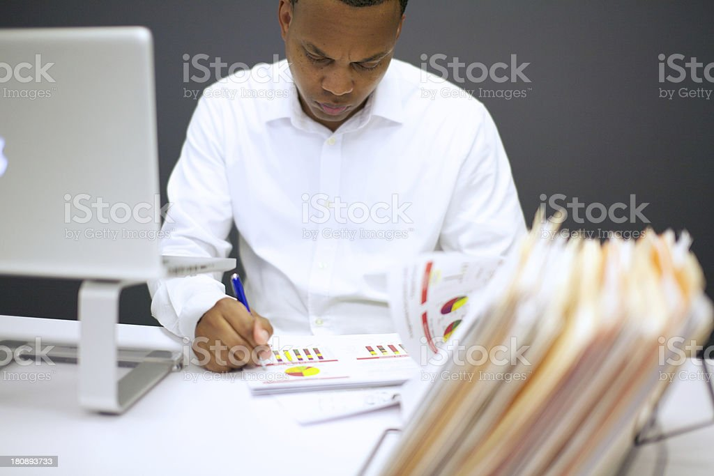 African american businessman with paperwork stock photo