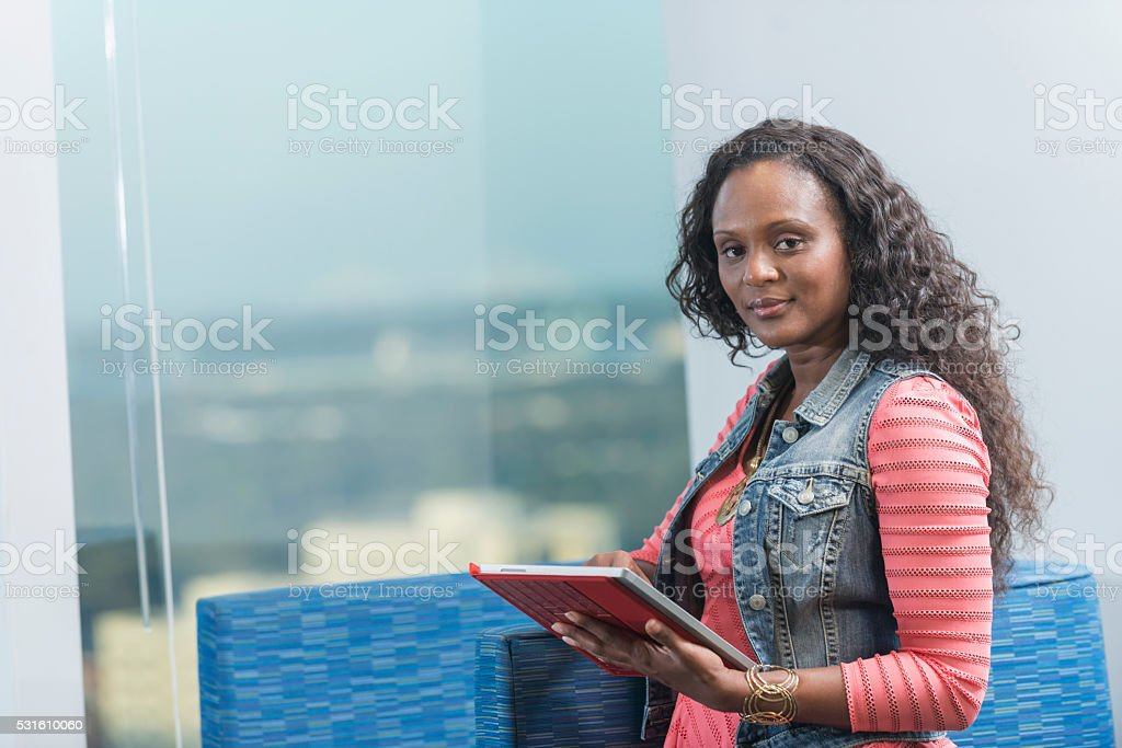 African American businesswoman in casual attire stock photo