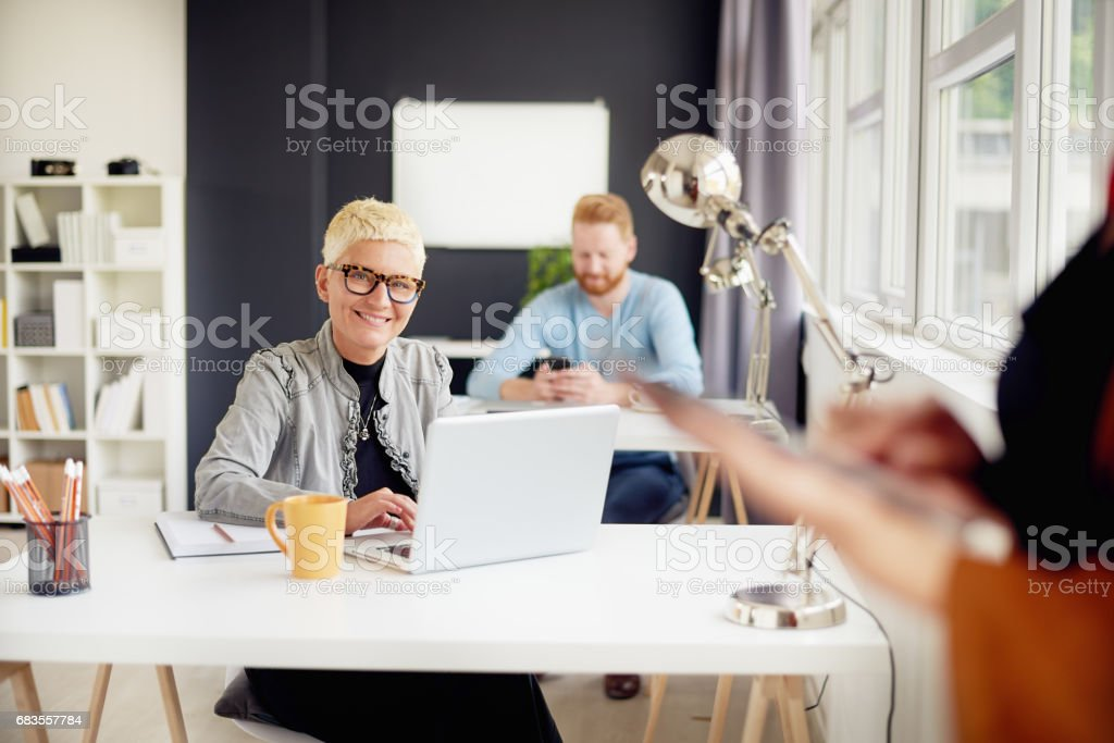 African american businesswoman in modern office stock photo