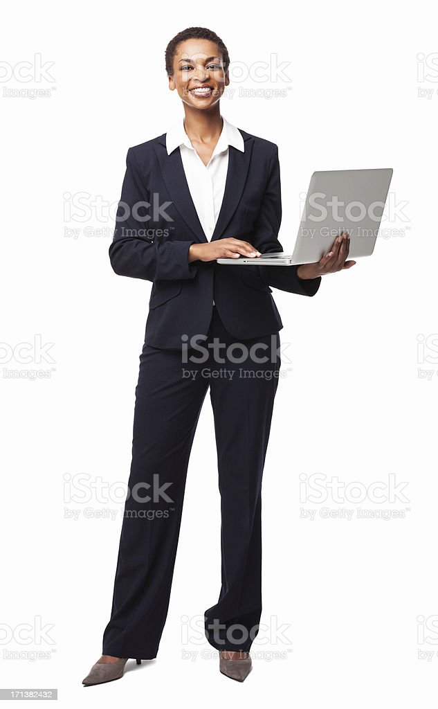 African American Businesswoman Typing On Laptop - Isolated stock photo