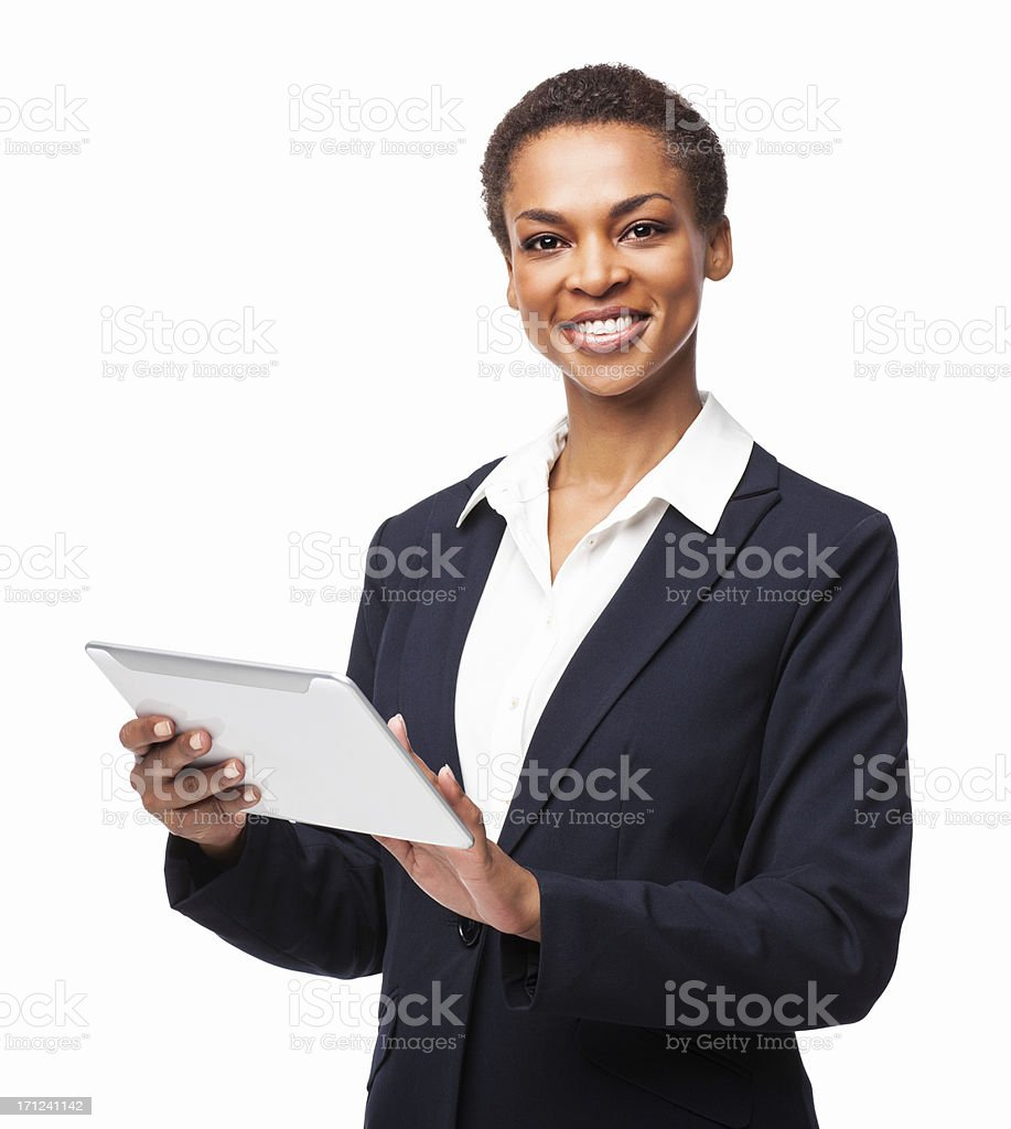African American Businesswoman Using Digital Tablet - Isolated royalty-free stock photo