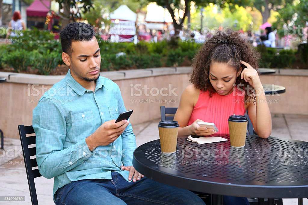 African American Couple Bad Date stock photo