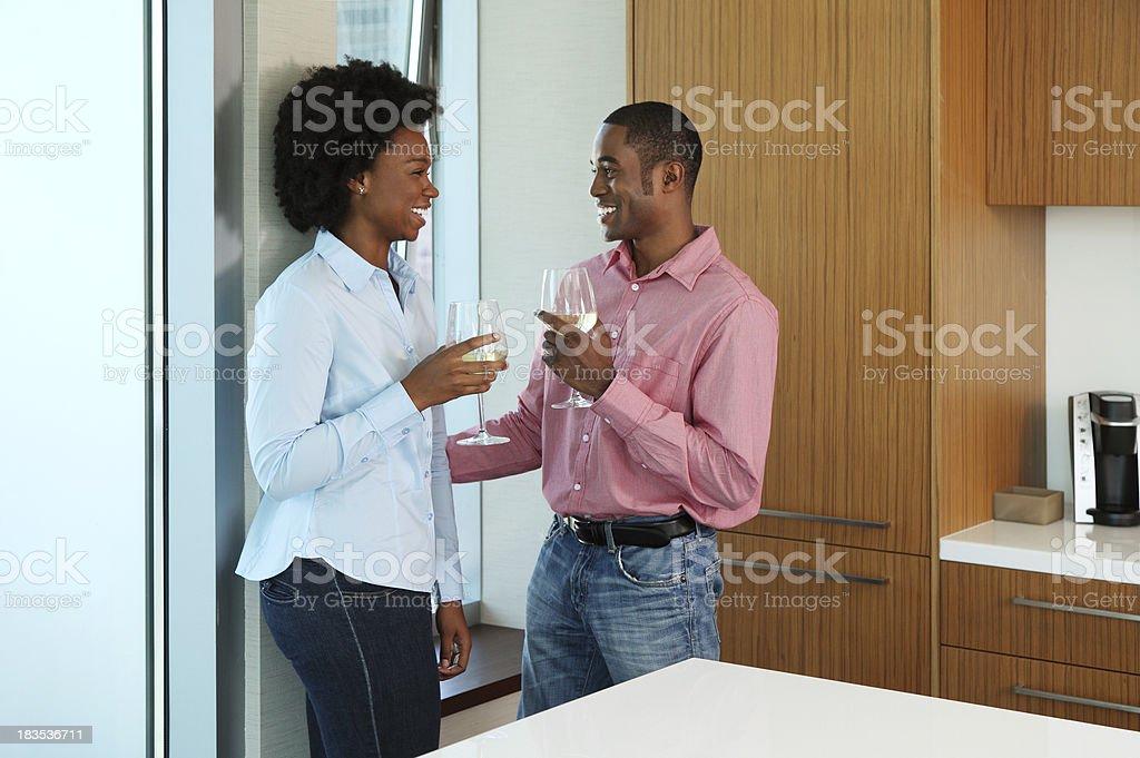 African American Couple Enjoying Wine Together stock photo