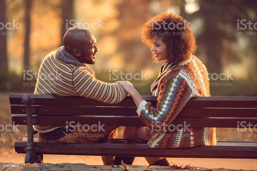 African American couple relaxing on bench and communicating in nature. stock photo